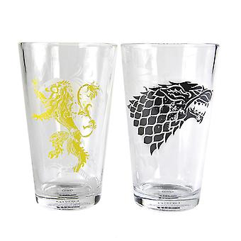 Game of Thrones glasses set of 2 stark and Lannister 2-piece set, transparent, printed, made of glass, in gift packaging.