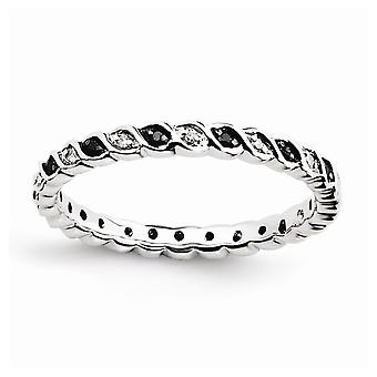 925 sterling zilver gepolijst Prong set patroon rhodium-plated stapelbare expressies zwart-wit Diamant ring-Rin