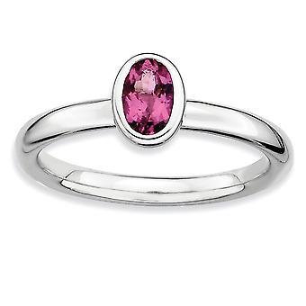 925 שטרלינג לוח כסף מלוטש רודיום ביטויים הערמה אליפסה טורמלין וורוד טבעת תכשיטים מתנות לואום