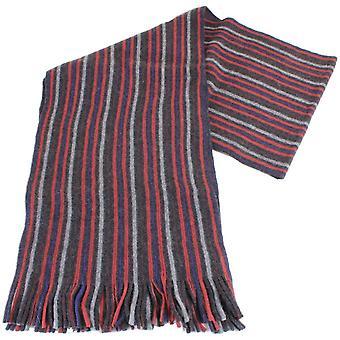 Bassin ja ruskea pankkien raidallinen Cashmere huivi - punainen/harmaa