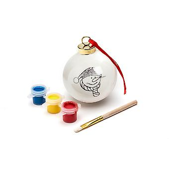 TRIXES DIY Snowman Bauble with 3PC Paint Set and Brush Hanging Xmas Decoration