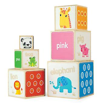 Tidlo Wooden Educational Animal Stacking Cubes Stacker Build Blocks