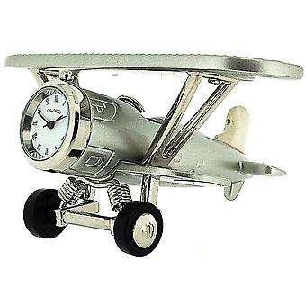 Miniature Silver Tone Biplane Novelty Desktop Collectors Clock 9132