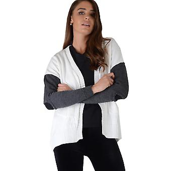 LMS Cream Cardigan With Contrasting Sleeves And Cut Out Elbows