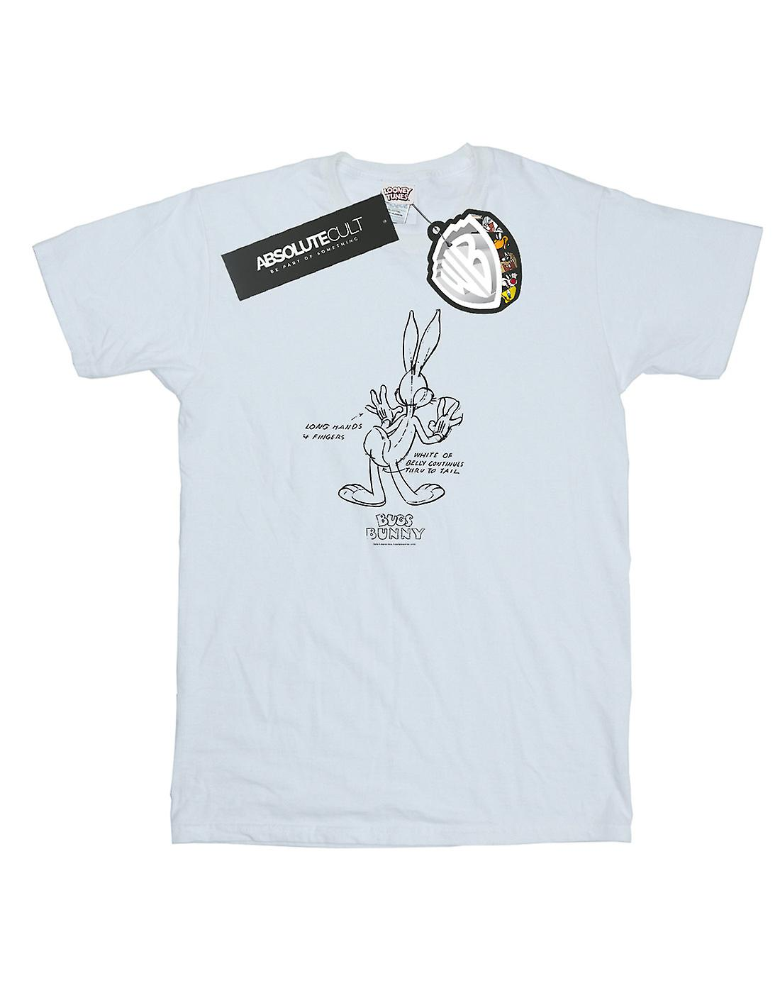 Looney Tunes Women's Bugs Bunny White Belly Boyfriend Fit T-Shirt
