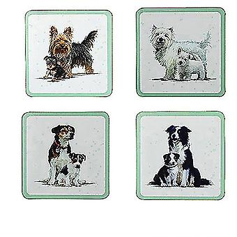 Set of 4 Drinks Coasters Wipe Clean Cork Backed - Dogs