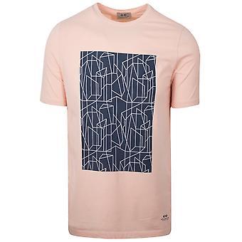 CC Collection Corneliani Peach Geometric Print Logo T-Shirt