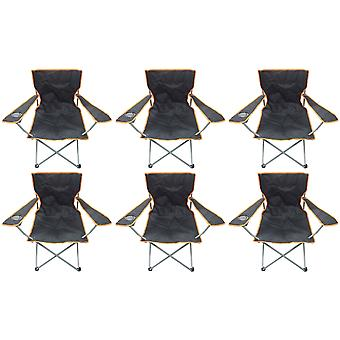 6 Black & Orange Lightweight Folding Camping Beach Captains Chairs