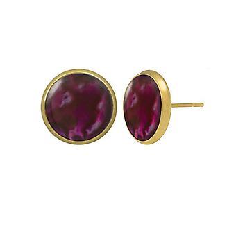 Eternal Collection Symphony Pink Paua Shell Gold Pierced Stud Earrings