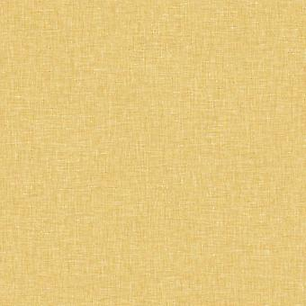 Linen Textured Wallpaper Arthouse Mustard Plain Woven Effect Spongeable Luxury