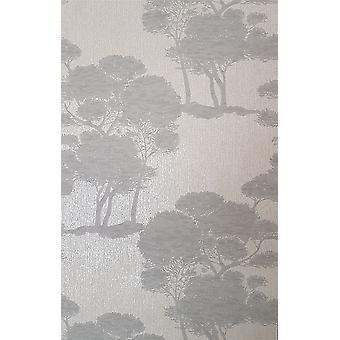 Trees Wallpaper Woods Grey Silver Glitter Metallic Vinyl Paste Wall Grandeco