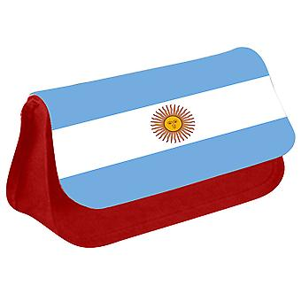 Argentina Flag Printed Design Pencil Case for Stationary/Cosmetic - 0007 (Red) by i-Tronixs