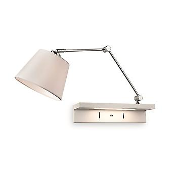 Erstlicht-1 Light Indoor Wall Light, Shelf & USB Port Chrome, Cream Shade und White Shelf-7657CH