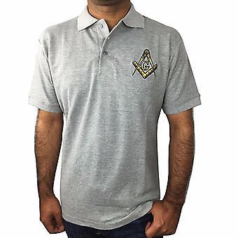 Klassisk polo skjorte med brodert firkantet kompass og g