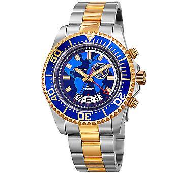 Akribos XXIV mäns AK955TTG multifunktions karta Print rost fritt stål Watch