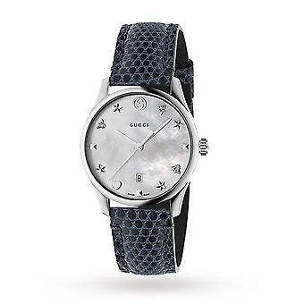 Gucci Ya1264049 G-timeless Silver Dial Blue Leather Band Ladies Watch