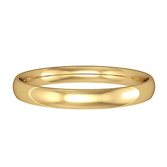 Jewelco London 9ct Yellow Gold - 2,5mm Essential Light Court-Shaped Band Commitment / Wedding Commitment Ring