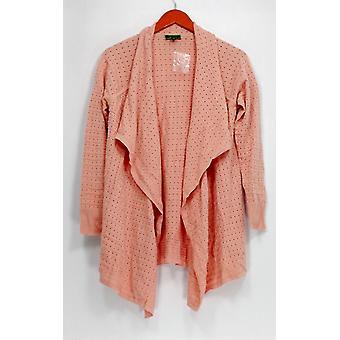 C. Wonder Sweater À manches longues Drape Front Pointelle Cardigan Rose A278968