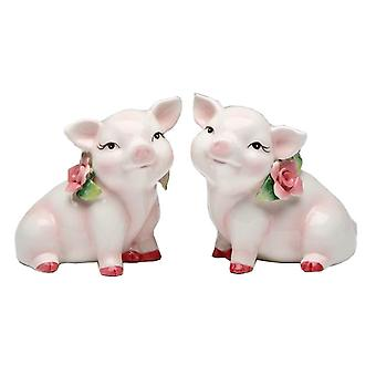 Piggy Pink Pig Wearing Rose Salt and Pepper Shakers