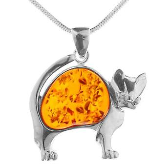 InCollections 541A203496L100 - Chain with women's pendant with amber - silver sterling 925