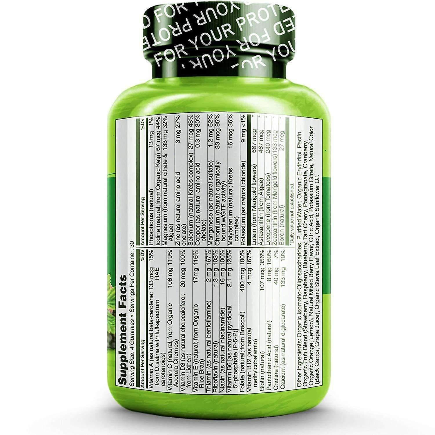 Whole food vitamin gummies for adults with natural vitamins - 120 gums | 1 month supply (vegan)