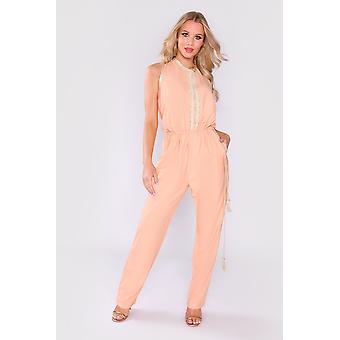 Amazon sleeveless full-length elastic waist jumpsuit in salmon pink