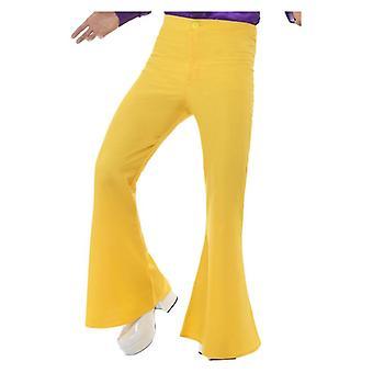 Mens geel laaide broek jaren 1970 Fancy Dress