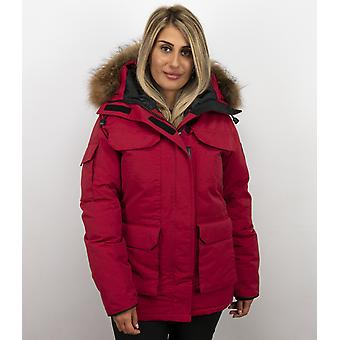 Winter coat - With Fur Collar - Red