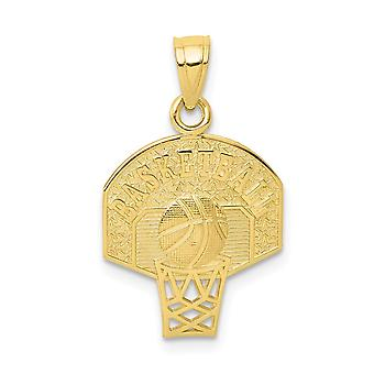 10 k Yellow Gold polerad texturerat baksidan basket Charm -.8 gram