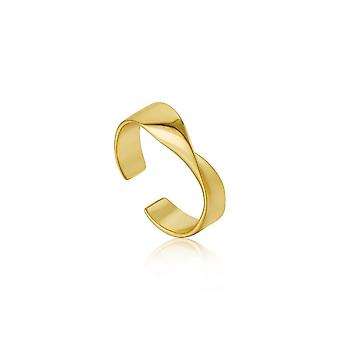 Ania Haie Sterling Silver Shiny Gold Plated Helix Adjustable Ring R012-01G