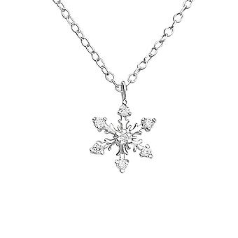 Sterling Silver Snowflake Necklace with Cubic Zirconia
