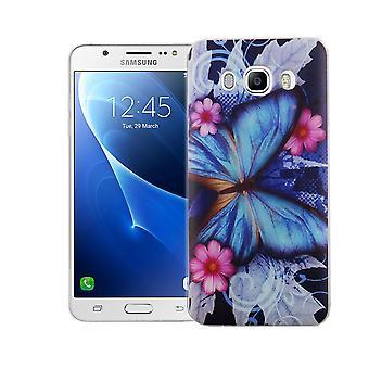 Handy Hülle für Samsung Galaxy J5 2016 Cover Case Schutz Tasche Motiv Slim TPU + Panzer Schutz Glas 9H Blauer Schmetterling