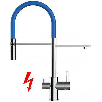 Niederdruck - ¡Solo para el mercado alemán! Mezclador de cocina de filtro de 3 vías con spout móvil y 2 spray de chorro - azul - 409