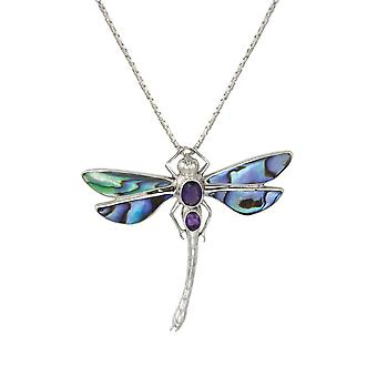 Eternal Collection Daydream Abalone Shell And Amethyst Dragonfly Sterling Silver Pendant