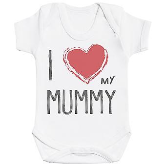 私は私のミイラ赤いハートの赤ちゃんのボディスーツを愛して