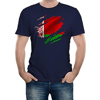 Reality glitch torn belarus flag mens t-shirt