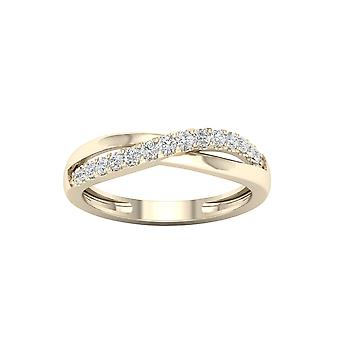 IGI Certified DeCouer 1/5Ct TDW Diamond 10k Yellow Gold Crossover Ring (H-I, I2)