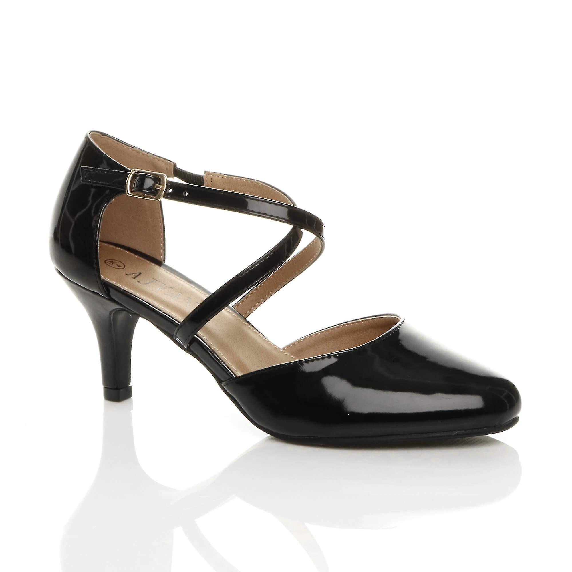 Ajvani kobiety połowie wysokiego obcasa strappy crossover ślub ślub sandały buty W4SqA