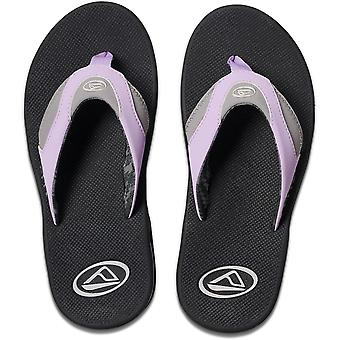 Reef Fanning Flip Flops in Grey/Purple
