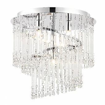 4 Light Spiral Flush Ceiling Light Chrome, Clear Glass