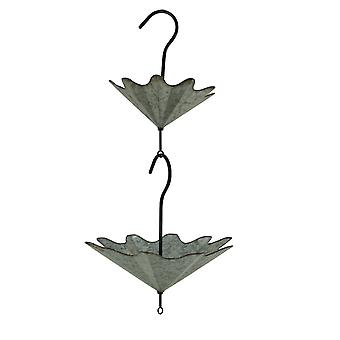 Galvanized Metal Upside Down Umbrella Hanging Planter Flower Holders 2 Piece Set