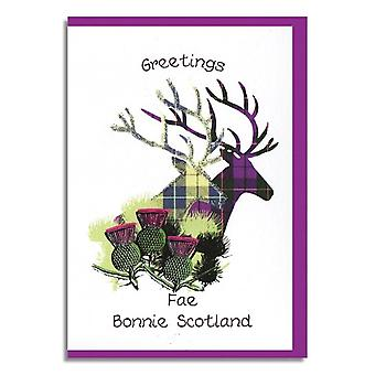 Embroidered Originals Greetings Fae Bonnie Scotland Tartan Stag Card