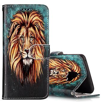 For Samsung Galaxy S9 Wallet Case Leather Lion Pattern