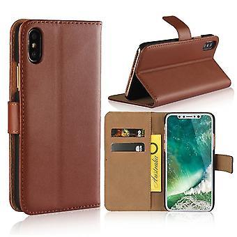 Für iPhone XS, X Brieftasche Fall, elegante schlanke Leder Cover Card Halter, braun