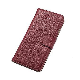 iPhone 6S, 6 lompakko tapauksessa muoti tyylikäs cowhide aitonahka kansi, punainen