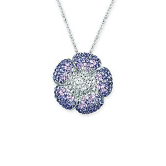 925 Sterling Silver Rhodium Plated Soft Petal Flower Purple Clear 18 Inch Jewelry Gifts for Women