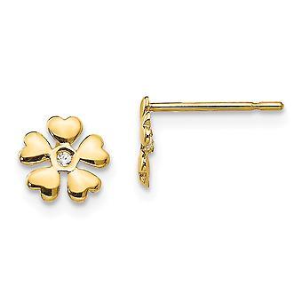 14kイエローゴールドマディK CZキュービックジルコニアの男の子や女の子のフラワーポストイヤリングのためのシミュレートされたダイヤモンド