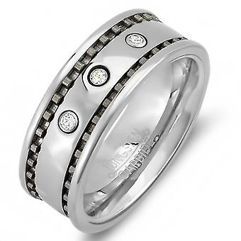 Dazzlingrock Collection Tungsten Carbide Unisex Ring Wedding Band 8 MM 0.25 CT 3 Stone Cubic Zirconia CZ Polish Finish Shiny Comfort Fit