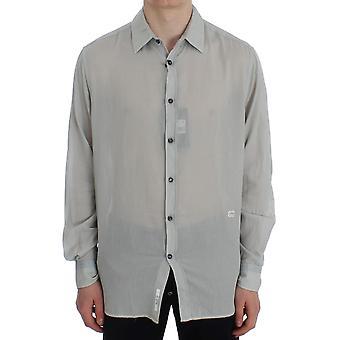 Cavalli Gray Cotton Regular Fit Casual Shirt