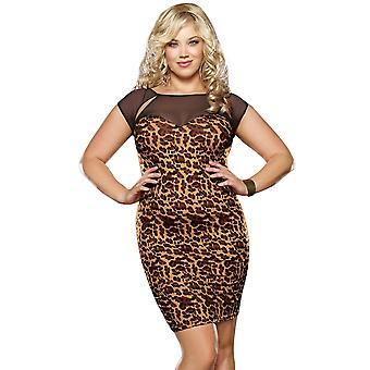 Plus Size Animal Print Stretch Dress